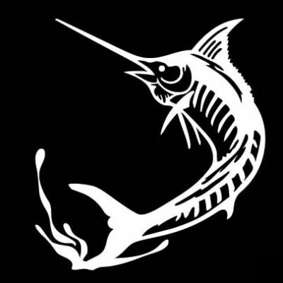 Marlin jumping vinyl saltwater fishing decal for Saltwater fishing decals